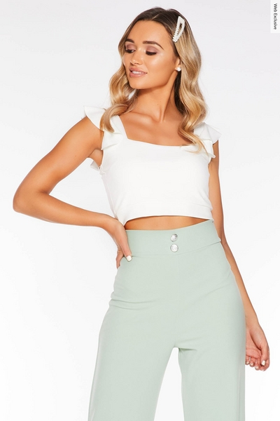 Cream Square Neck Frill Sleeve Crop Top